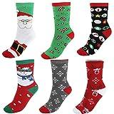 CHIC DIARY Weihnachten Bunte Socken Baumwolle Damen Mädchen Strümpfe Set Cartoon Christmas Motiv Süß (6 Paare Mischung 2)