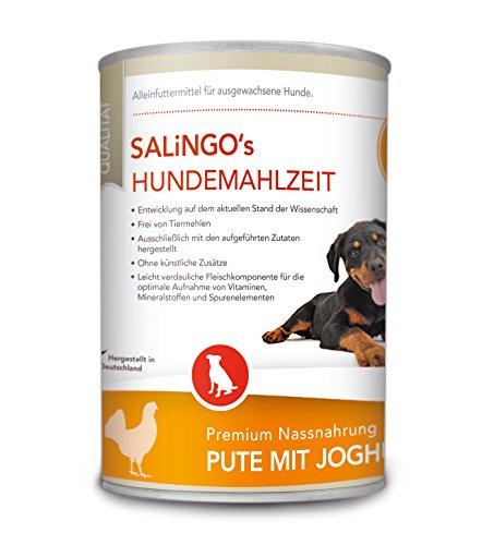 SALiNGO Hundefutter nass, Pute mit Joghurt und Spätzle (400g)