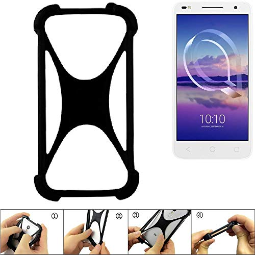 K-S-Trade Handyhülle für Alcatel U5 HD Dual SIM Schutz Hülle Silikon Bumper Cover Case Silikoncase TPU Softcase Schutzhülle Smartphone Stoßschutz, schwarz (1x)