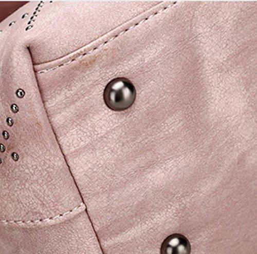 Koreanische Version Mode Damen Hand Nieten Diagonale Schulter Damen Tasche,Pink Purple
