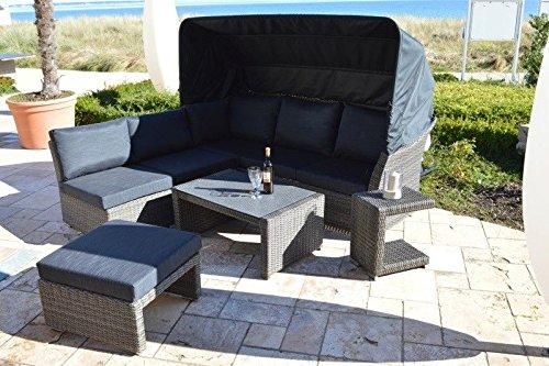 Ploß Lounge-Set mit 3-Sitzer-Sofa mit klappbarem Dach, 2 Mittelelementen, 1 Beistelltisch, 1...