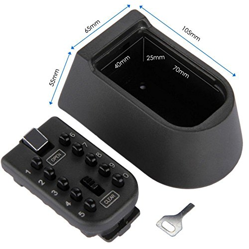 XLDouZi Black Heavy Duty Key Hidden Storage Safe Box With 4-Digital Password Lock Weatherproof Case For Home Carvan Office RV (Storage Box Rv)