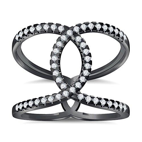 Silvernshine Halo Twist CZ Diamonds Engagement Ring 14k Black Gold Plated Bridal Ring Set