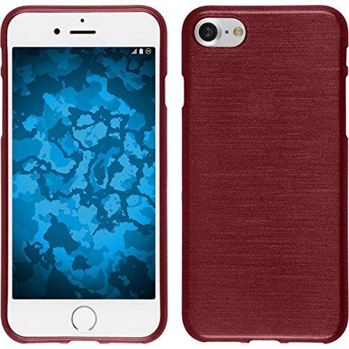 PhoneNatic Case für Apple iPhone 7 Hülle Silikon blau brushed Cover iPhone 7 Tasche + 2 Schutzfolien Rot