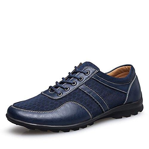 HUANGLINGLING Casual Suede Shoe Herren Driving Loafer Flache Ferse Lace Up Volltonfarbe British Style Splice Vamp Modische Schuhe Herren Sneaker (Color : Blau, Größe : 43 EU) -