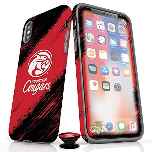 Handy-Zubehör-Set - Displayschutzfolien, Matte Schutzhülle und Handy-Griff mit Houston Cougars-Design, iPhone X/XS, Houston Cougars (Matte Finish) Houston Cougars Hat