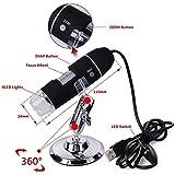 Iktu 1000x Digital Microscope Camera HD Color 0.3m CMOS Sensor (2.0 MPIX) 8 LED and 5X Zoom 30FPS (Black,1000x)