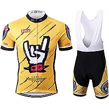Thriller Rider Sports® Uomo Rock Music Yellow Sport e Tempo Libero Abbigliamento Ciclismo Magliette Manica Corta e Pantaloncini Cinturino Combinazione Large