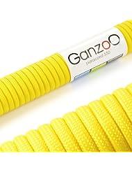 Ganzoo–Cuerda de supervivencia multifuncionales paracaídas Paracord 550(cuerda trenzada de nailon), soportan hasta 250kg, longitud total: 31metros (100FT) Color: Amarillo–Marca Ganzoo