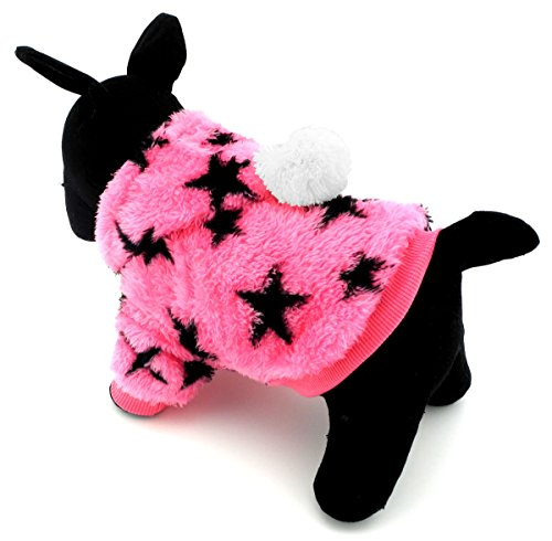 zunea Pet Apparel Hoodies Kleine Hund Katze Kleidung Kostüm Fleece Sterne Winter Mantel Jacke Kleidung (Katze Auf Dem Rücken Hund Kostüme)