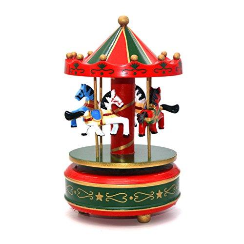 Caja de música de madera con forma de carrusel, cajas de música para regalar en Navidad, para niños, regalo estilo vintage