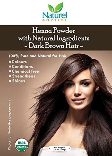 Henné per capelli marrone scuri 100% puro rafforza fa brillare senza sostanze chimiche certificato USDA biologico