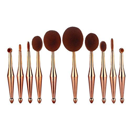 Professionnel ovale Pinceaux de Maquillage Set 10 Pcs Cosmétique Brush Beauté Maquillage Poudres Fond de Teint Fard à Paupière Makeup Pinceaux Or Rose