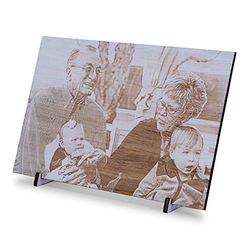Wogenfels - Holzbild Ceiba (15 x 10 cm) | Gravur deines Fotos auf Holz Aufstellen Schreibtisch | Cooles Wohnaccessoire | QUALITÄT und Support aus Österreich
