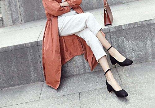 2018 Nouveau Printemps Cheville Sangle Femmes Talon Carré Unique Taille Grandes Chaussures 40-45 Femmes Chaussures Haut Top-top Noir Chaussures