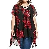 VJGOAL Damen T-Shirt, Damen Plus Size Criss Cross Double Chiffon Print Kurzarmhemd Pullover Unregelmäßige Tops Bluse (XXXXL, Rot)