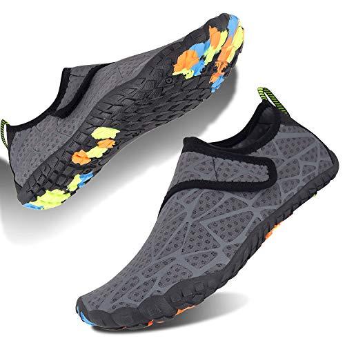 Scarpe da Immersione Uomo Donna Scarpe da Acquatico Quick Dry Scarpe da Mare Leggero Durevole Suola per Passeggiate a Piedi Escursionismo Nuoto Surf Spiaggia Piscina Yoga(Grigio,38 EU)