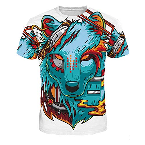 bb52f21450 XIAOBAOZITXU T-Shirt Men And Women Lovers Costume Colored Wolf Short Sleeve  3D Digital Printing