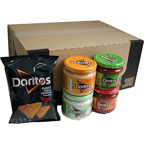 Doritos Nacho Chips Sweet Chilli Pepper 20 x 44g & Doritos Nacho Dip Sauce Testpaket Nacho Cheese 300g , Mild Salsa 326g, Hot Salsa 326g, Cool Sour Cream and Chives 300g