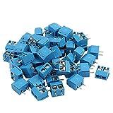 TOOGOO 100 Stueck blau ABS KF301-2P 5.08mm 2 Pin Anschlussklemme Schraubanschluss Stecker