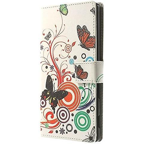 MTP Sony Xperia T3 Custodia Portafoglio, Cover con funzione Sostegno, Bookstyle Book Case - Motivo Farfalle / Cerchio - Farfalla Del Cerchio
