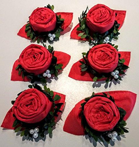 Weihnachtsservietten Rose in rot mit Serviettenring, 6 er Set, fertig gefaltet, zur Weihnachtsdekoration, Hochzeit, Geburtstag, Taufe, Geburt, Kommunion, Konfirmation und zu allen besonderen Anlässen.