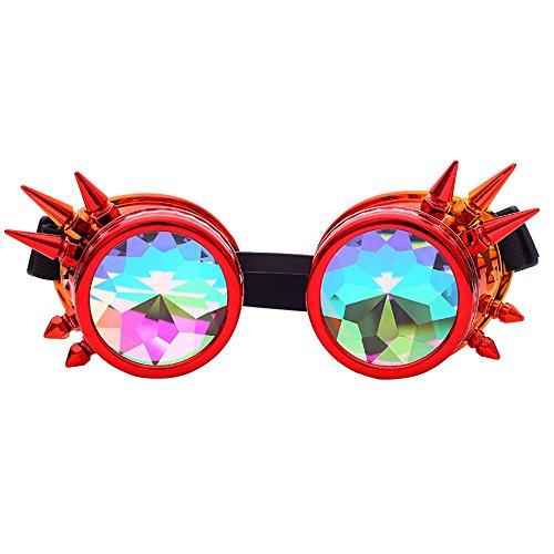 SSMEGN Kaleidoskop-Brille, bunte Brille, Kristallgläser, Schweißaugenschutz, Vintage-Brille Gr. Einheitsgröße, a