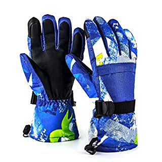 Diswoe Ski Gloves for Men Women, Unisex Waterproof Warm Snowboard Cycling Snowmobile Winter Thermal Gloves Zipper Pocket for Outdoor Downhill Skiing (Blue, XL)