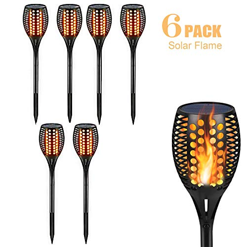 Solar Light Outdoor Solar Flame Light Flashing Effect Grille Light Waterproof Decorative Path Light Illumination Automatic On/Off 2 Pack,6packs -