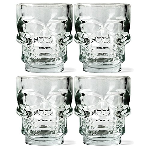 Set di 4 Chupitos bicchierini liquore con rilevo a forma di TESCHIO ideale per feste party - Idea Regalo