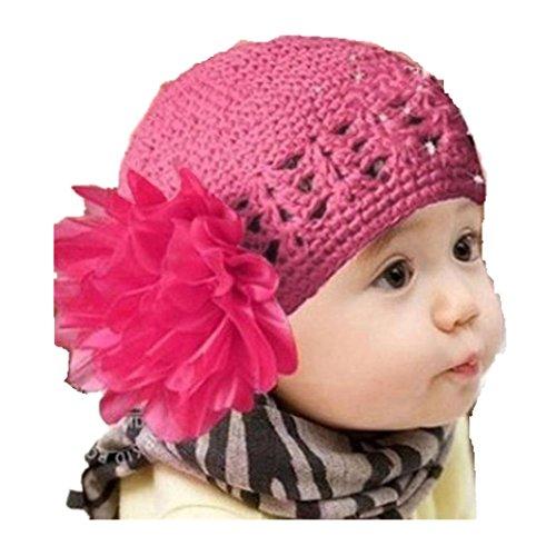 Babybekleidung Hüte & Mützen Longra Winter Kleinkinder Baby Mädchen Haare Band Stirnband Headwear Blume Hute häkeln Wolle Strickgarn Mützen (3 Monate-3 Jahre) (Hot Pink)
