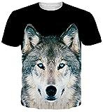 uideazone Hiphop-Art Mens-Wolf-Kurzschluss-Hülsen-T-Shirt Beiläufige Grafik-T-Stücke Schwarzes M