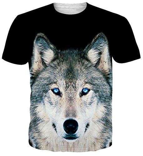 Uideazone Unisex Hiphop Style 3D bedruckte Wolf Rundhals T-Shirts T-Shirts