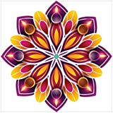 NISH! Rangoli Sticker #012 (Vinyl, Small - 12in X 12in, 100 Pieces)   Rangoli Stickers Floor   Rangoli Floor Stickers   Rangoli Stickers For Wall   Rangoli Stickers For Doors   Diwali Rangoli Stickers