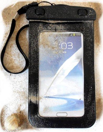 """PRESKIN - Wasserfeste Tasche bis 5.7 Zoll Display, Wasserdichte Smartphone Schutzhülle / Handy Hülle (Beachbag5.7\""""Black) mit Touchscreen Funktion wie Schutzfolie / Displayfolie, Waterproof / water resistant mobile bag / pouch / case für Samsung Galaxy S5, S4, S3, Note 3, S4 mini, S3 mini, Motorola Moto G, Moto X, Sony, Nokia, Huawei Apple iPhone 5S, 5C, 5, 4S, 4, HTC One, One mini, Apple iPhone"""