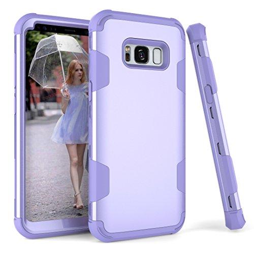 Samsung Galaxy S8Fall, Galaxy S8Case darmor Shop 3in1Hybrid Heavy Duty stoßfest Hard PC Soft Silikon Combo Fullbody Schutzhülle für Galaxy S82017Release, Purple+Purple (Geldbörse Glitter Spade Kate)