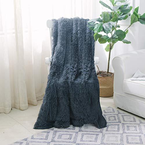 Mikrofaser-stuhl-bett (nordeco Home Super weicher Hochflor Shaggy langem Fell Überwurf Decke, Kunstfell leicht warm elegant Cozy Plush Fleece Mikrofaser Decke für Couch/Bett/Stuhl-127x 152,4cm dunkelgrau)