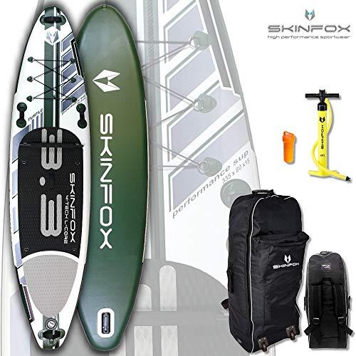 SKINFOX Turtle Carbon-Set (335x80x15) 4-TECH L-CORE SUP Paddelboard grün NEUESTE SUP Generation - Testsieger 2018 (Board,Bag,Pumpe)