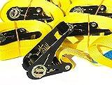 OVK - Set 4 pezzi di cinghie da rimorchio, con cricchetto, lunghezza 4-6 metri, opzionale 800 kg, EN 12195-2