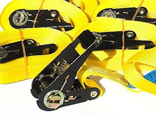 OVK-Set de 4 piezas de Correa de remolque con llave de carraca, 4 a 6 m, hasta 800 kg, opción EN 12195-2 6 meter amarillo