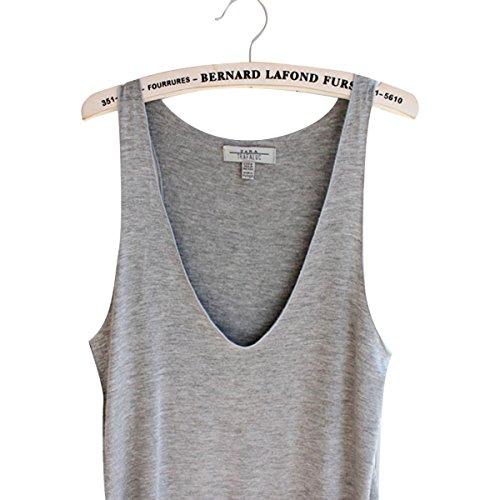 Veste Top Sans Manche Femme Été Sexy Débardeur V Bretelles T-shirt Tank Tops Gris Gris