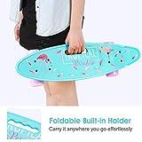 ENKEEO 57cm Mini Cruiser Board Skateboard mit stabilen Deck 4 PU-Rollen für Kinder, Jugendliche und Erwachsene - 5