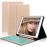 D DINGRICH Tastatur Hülle für ipad 2018, ipad 2017, ipad Pro 9.7, ipad Air 1, ipad Air 2-7 Farben Hinterleuchtet- QWERTZ Tastatur- Stifthalter- Magnetisch Schlaf/Wach- iPad Hülle mit Tastatur