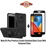 Moto E4 Plus Original COMBO OFFER Goelectro Kickstand Back Cover + Full Coverage 2.5D Curved Tempered Glass Screen Protector (Black-Black)