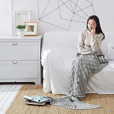 Super Plaid doux et confortable Eté–Masques de Throw Blanket coton Chiffon climatisation couverture queue de sirène Knit, gris, 195*90CM