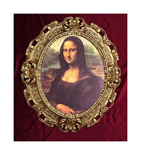 Leonardo da vinci mona lisa - quadro con cornice barocca, 45 x 38 cm, stampa artistica ovale in stile retrò repro, effetto anticato