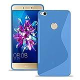 Hülle für Huawei P8 lite 2017 Schutzhülle Silikon S-Line Handyhülle Case Slim Cover Silverback - Transparent Blau