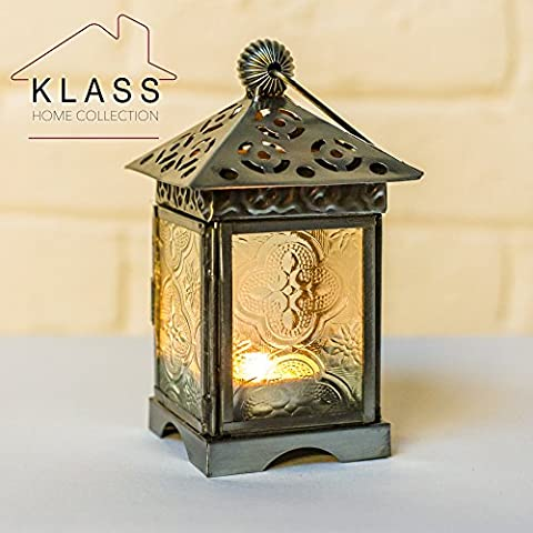 MOROCCAN FRENCH STYLE SILVER & CLEAR PATTERNED GLASS LANTERN (Small)