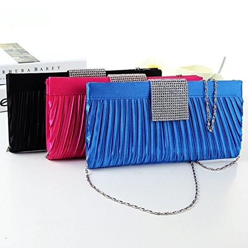 WYZ Luxus Bling Damentasche Tasche Clutch Handtasche Abendtasche 4 Farben Brauttasche mit Strass Kette fuer Hochzeit Party Blue