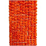 Sphinx Artificial Marigold Fluffy Flowers Garlands for Decoration - Pack of 5 (Orange)
